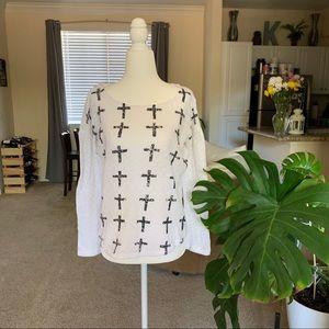 Lightweight, Long Sleeve Weavers Cross Top